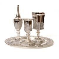 Havdallah Set Silver Plated Filigree Design 4 Piece Set