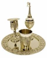 Havdallah Set Silver Plated Grape Design 4 Piece Set