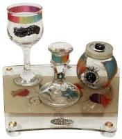 Lily Art Glass Havdallah Set Multi Color Pomegranate Design 4 Piece Set