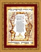 Illuminated Hadlakas Neiros Candle lighting and Binyan Hamikdash on Parchment in Ornate Frame