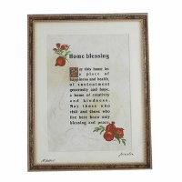 Home Blessing English Framed with Pomegranate Design