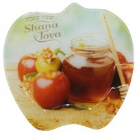 Honey Dish Glass Apple Shape Printed with Golden Apple and Honey Jar Design