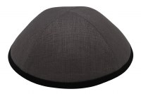 iKippah Gray Linen with Black Rim Size 2