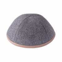 iKippah Gray Wool with Tan Leather Rim Size 2