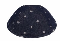 iKippah Dark Denim with Silver Stars Blue Size 4