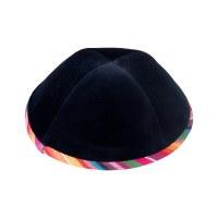 iKippah Navy Velvet with Colorful Rim Size 2