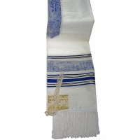 "Tallis Paz Jerusalem Rayon Size 18 Blue and Gold 18"" x 72"""