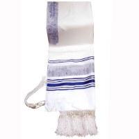 "Tallis Paz Jerusalem Rayon Size 18 Blue and Silver 18"" x 72"""