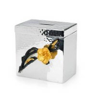"Classic Touch 4"" Money Box-Frangipani Black/Gold"
