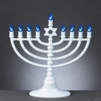 Electric Menorah LED White Star of David with Blue Bulbs