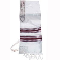 "Tallis Paz Kotel Rayon Size 18 Maroon and Silver 18"" x 72"""