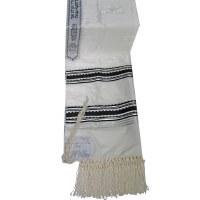 """Tallis Paz Kotel Rayon Size 24 Black and Silver 24"""" x 72"""""""