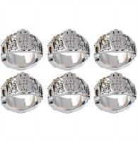 Napkin Rings Metal with Chamsa Design Set of 6