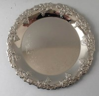 Kiddush Cup Tray Silver Plated Grape Design 6""