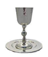 Kiddush Cup Silver Plated Nickel Hammered Style