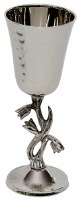 Hammered Nickel Kiddush Cup on Tulip Stem Design
