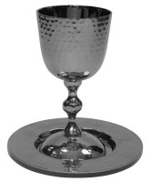 Hammered Nickel Kiddush Cup on Stem with Matching Plate 5""