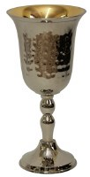 Kiddush Cup Hammered Nickel with Gold Color Interior 6""