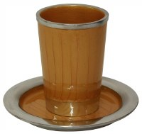 Kiddush Cup Nickel and Enamel Gold Color with Saucer 3.5""