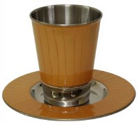 Kiddush Cup Nickel and Enamel Gold Color with Matching Saucer 3.5""