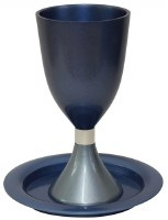 Kiddush Cup with Saucer Annodized Aluminum Two Tone Blue 5.5""
