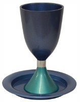 Kiddush Cup with Saucer Annodized Aluminum Blue and Teal 5.5""