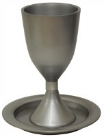 Kiddush Cup with Saucer Annodized Aluminum Silver Color 5.5""