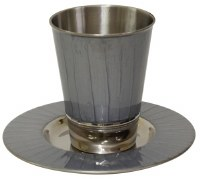 Kiddush Cup Nickel and Enamel Light Grey with Matching Saucer 3.5""