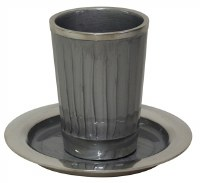 Kiddush Cup Nickel and Enamel Light Grey with Saucer 3.5""