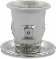 Kiddush Cup and Plate with Nickel Plated Squares