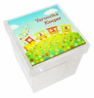 "Personalized Lucite Yarmulka Keeper Box Glow In The Dark Tile Cover Alef Bais Train Design 6.25"""