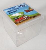 "Lucite Yarmulka Keeper Box Tile Cover Transportation Design 6.25"""