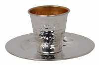Silver Coated 925 Kiddush Cup with Tray Hammered Design