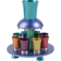Yair Emanuel Wine Fountain with Goblet and 8 Cups Multicolored Anodized Aluminum Multicolor