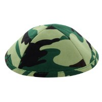 Kippah Camouflage Design Green Cloth 4 Part 19cm