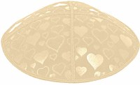 Beige Blind Embossed Hearts Kippah without trim