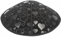 Black Blind Embossed Hearts Kippah without trim