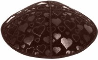 Brown Blind Embossed Hearts Kippah without trim