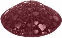 Burgundy Blind Embossed Hearts Kippah without trim