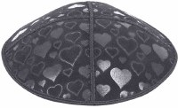 Dark Grey Blind Embossed Hearts Kippah without trim