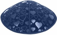 Dark Royal Blind Embossed Hearts Kippah without trim