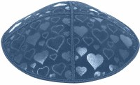 Denim Blind Embossed Hearts Kippah without trim