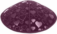 Eggplant Blind Embossed Hearts Kippah without trim