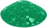 Emerald Blind Embossed Hearts Kippah without trim