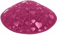 Fuchsia Blind Embossed Hearts Kippah without trim