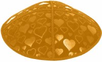 Gold Blind Embossed Hearts Kippah without trim
