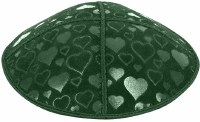 Green Blind Embossed Hearts Kippah without trim