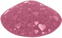 Hot Pink Blind Embossed Hearts Kippah without trim