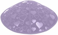 Lavender Blind Embossed Hearts Kippah without trim