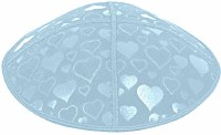 Light Blue Blind Embossed Hearts Kippah without trim